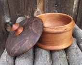 Wooden Box with Lid - Hand Turned Lidded Wood Box - Cherry and Walnut Woods Wooden Box with Lid - Great gift idea