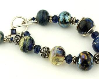 Lampwork Bracelet - Sterling Silver Dark Blue Swarovski Crystals  Beaded Jewelry 'Midnight Garden'
