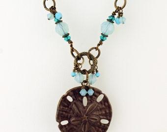 Lampwork Necklace and Earrings Set Long Chain Ocean Vintaj Beaded Beach Jewelry Antique Brass Sand Dollar Aqua  'Beach Walk'