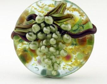 SRA Handmade Lampwork Glass Bead, Lentil Green Grapes 'Chardonnay'