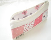 Linen Patchwork Pencil Case Linen and Cotton Zipper Pouch Dots and Floral