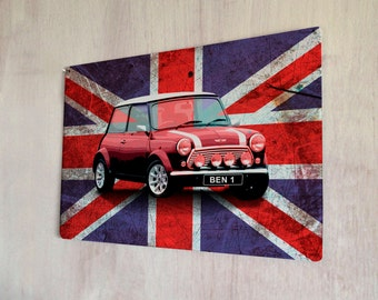 Personalised Union Jack Mini cooper gift idea sign A4 metal plaque Shabby Chic picture home deco