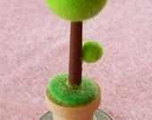 Small Flocked Topiary Tree for Dollhouse or Terrarium OOAK Polymer Clay FIMO Sculpey
