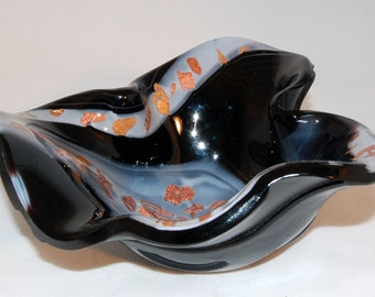 Black and white swirl with bronze mica fused art glass bowl