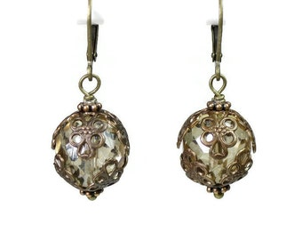 Filigree Vintaj Brass and Champagne Czech Glass Victorian Style Dangle Earrings, Vintage Style Neutral Affordable Jewelry Gift Ideas