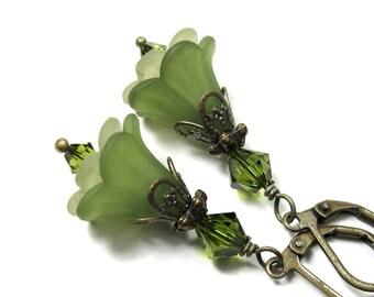 Green Flower Earrings, Light Olive Green Floral Swarovski Crystal Dangle Earrings, Woodland Gifts for Gardeners, Boho Chic Gift Ideas