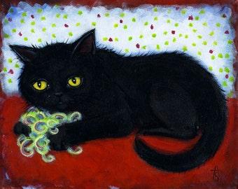 Black Exotic Shorthair Cat art original oil painting by Heidi Shaulis. Susu's Ribbon