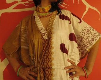 Lovely paisleys - Mustard Kaftan Robe - Perfect as a long dress, loungewear, beachwear, spas, for to be moms,in short - best gift for her