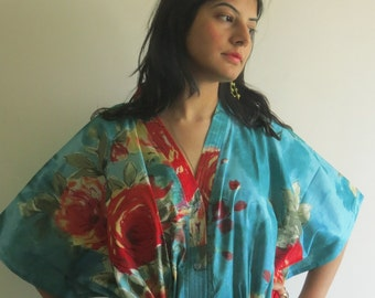 Teal Red  Nursing Maternity Hosptial Gown Delivery Kaftan Perfect as loungewear as getting ready as beachwear gift for moms & to be moms