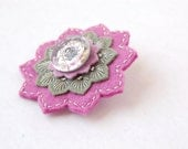Rose and Sage Embroidered Brooch