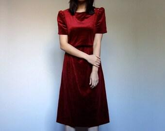 70s Burgundy Velvet Party Dress Short Sleeve Gold Button Simple Winter Dress - Small Medium S M