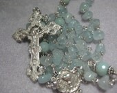 Handmade Heirloom Quality Nugget Aquamarine Gemstone Catholic Five Decade Traditional Linked  Solid Sterling Silver Rosary