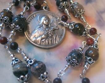 STERLING and JASPER GEMSTONE St. Teresa of Lisieux Single Decade Catholic Chaplet