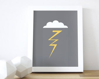 Kids Decor, Lightning Art Print, Nursery Wall Art, Gray Boys Decor, Kid Prints, Art and Decor, Cloud, Rain, 8x10, 16x20. Lightning Art Print