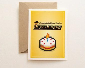 Leveled Up Birthday Card