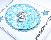 Birthday Card - Swimming Girl - Personalised - Girls Ladies Friends - Handcrafted - Female Card