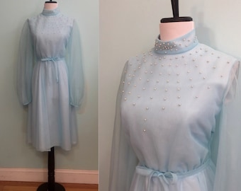 ON SALE Vintage 1970's Powder Blue Dress with Sheer Sleeves and Pearls Size Small