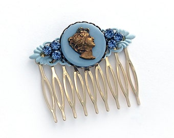 Cameo Hair Comb OOAK Victorian Shabby Chic Vintage Antique Bronze Brass Cameo and Button Sapphire Rhinestones Vintage  Sky Blue Filigree