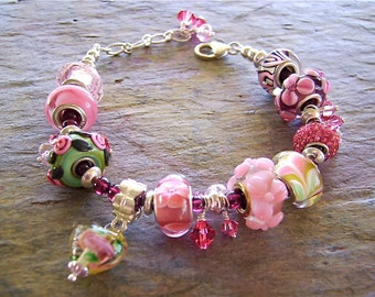 European Bead Bracelet with Multicolor Pink and Fuchsia Large Hole Beads - Sterling Silver - Summer Fun!
