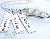 Name Charm necklace - mothers necklace - handstamped charms - 3 peas in a pod necklace with kids or grandkids name