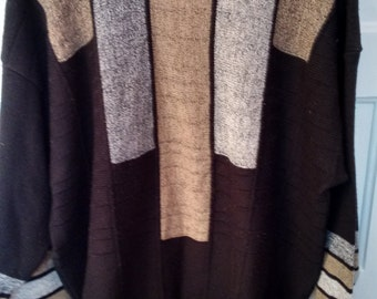 Alan Stuart geometric Jumper sweater earthtones normcore xl 1980s eighties men made in USA vertical stripe pullover