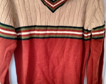 disco polyester pullover striped Jumper sweater 1970s men grunge Sutton Place