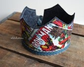 Marvel Comic Birthday Boy Crown, Super Hero Party,  Comics, Photo Prop, Holiday Gift, Comic Book Holiday, Avengers Party, First Birthday Hat