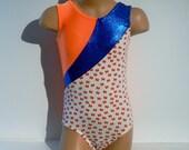 Gymnastic Dance Leotard Orange with Red Bows Insert. Dancewear. Dance Leotard.  Toddlers Girls Gymnastics Leotard. SIZES 2t - Girls 7