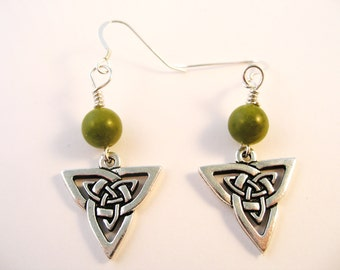 Silver IRISH TRINITY Knot  Irish CONNEMARA Marble Ireland Dangle Earrings