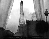 Here's Looking at You Paris, black and white version print from watercolor by Jessica Durrant