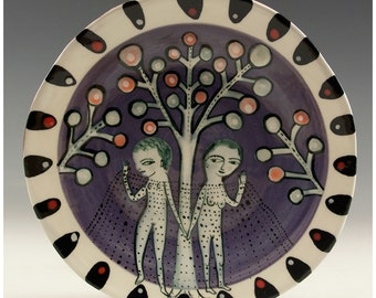 A Round Original Painting by Jenny Mendes on a Round Ceramic Dessert Plate - Lady Lovers