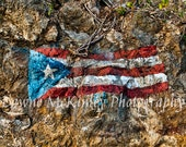 Painted Puerto Rico Flag on Rocks 5x7 or 8 x 10 Photograph