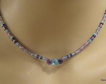 Pink Amethyst,Apatite and Purple Amethyst Necklace with Briolettes