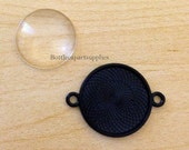 "10 1"" Round Black Photo Blank Double Loop Pendant Charms + 10 Clear Glass Domes"