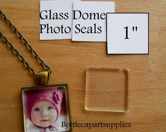 """1"""" CLEAR SQUARE Double Adhesive Easy INSTANT Sticker Seals for Glass Domes, Photo Jewelry.  Alternative to Resin and Glaze. 2 sided Stickers"""