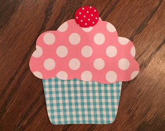 Cupcake with Cherry Iron On Applique, You Chooce Fabric