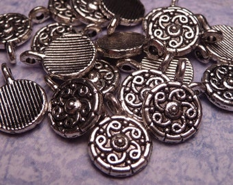 Small Silver Coin Charm 8mm - 10pc
