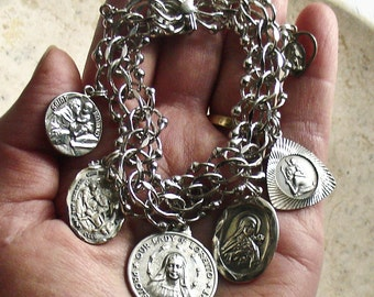 Protect Me in My Travels ~ Vintage ELCO Sterling Silver Catholic Medals Bracelet