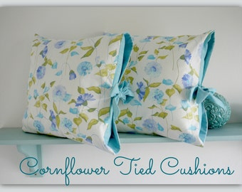 Handmade Tied Pillow Covers in 'Cornflower' fabric by Lillyblossom