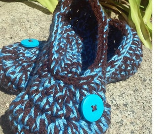 Women's Crochet Chocolate Slippers | Brown and Blue Crochet Slippers | Hand Crochet Slippers | House Shoes | Crochet Booties | Slippers