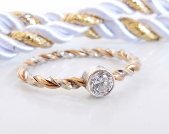 Cubic Zirconia Ring - Silver and Gold - Engagement Ring - Gifts For Her