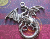 4 Dragon charms antique silver winged dragon pendants 46mm x 44mm lead nickle cadmium free
