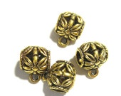 24 Antique gold Charm hangers  jewelry making supplies pendant hangers bead hangers  bail beads large hole bead GAB8