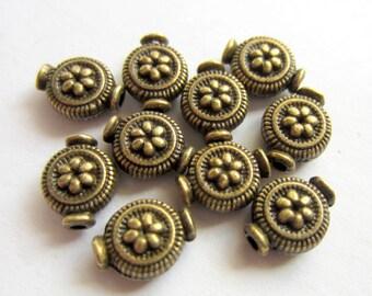 30 Antique bronze beads embossed tibetan style boho chic ethnic lead free nickel free 5829 Z2