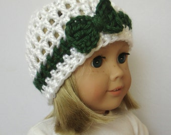 White Knit Doll Hat - Doll Beanie - 18 Inch Doll Clothes