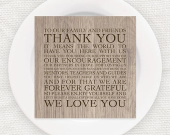 Wedding Reception Thank You Poem Cards Instant Download Printable File Woodgrain Faux Wood Diy