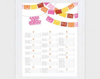 fiesta wedding seating chart printable seating plan papel picado mexican flags destination mexico seating assignment