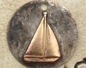 "3/4"" Rustic Soldered Brass Sailboat Pendant Bohemian Charm Pendant Ocean Sea Life Sailing Brass Metalwork, Metalsmith, Mixed Metals"