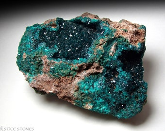 Huge Dioptase Cluster on Matrix, Ultra Rare Piece // Heart & Third Eye Chakra // Crystal Healing // Mineral Specimen