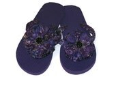 Purple Decorated Flip Flops Womens